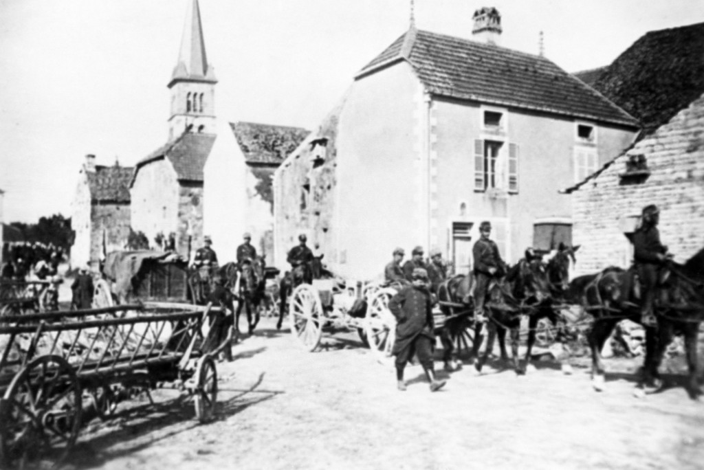 FILE - French cavalry marching through northern France, after driving the Germans back in an undated photo. They were messengers, spies, sentinels and