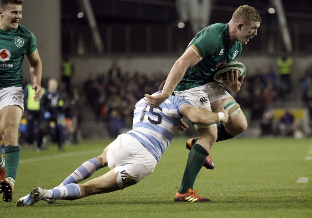 Ireland's Dan Leavy is tackled by Argentina's Emiliano Boffelli during the rugby union international match between Ireland and Argentina, at the Aviva