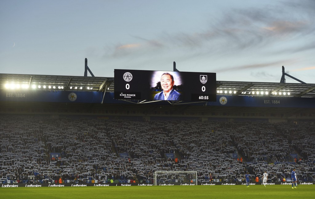 Leicester City chairman Vichai Srivaddhanaprabha who lost his life in the Leicester City helicopter crash is shown on the screens during the 60th minu