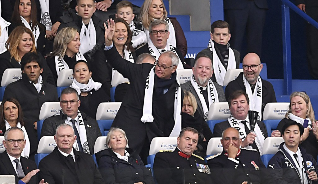 Former Leicester City Manager Claudio Ranieri, center, in the stands during the English Premier League soccer match between Leicester City and Burnley