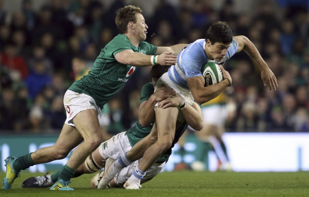 Argentina's Bautista Delguy is tackled during the rugby union international match between Ireland and Argentina, at the Aviva Stadium in Dublin, Irela