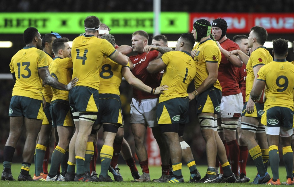 Australian and Welsh players tussle during the rugby union international match between Wales and Australia at the Principality Stadium in Cardiff, Wal