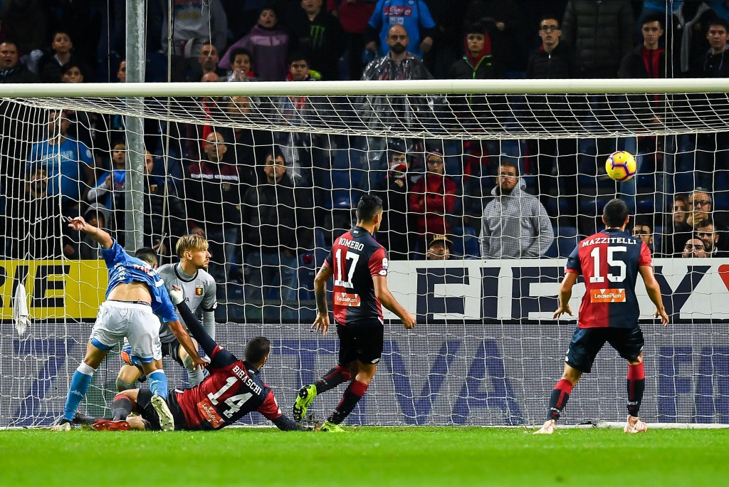 Genoa's Davide Biraschi, 3rd from left, scores an own goal during the Serie A soccer match between Genoa and Napoli at the Luigi Ferraris stadium in G