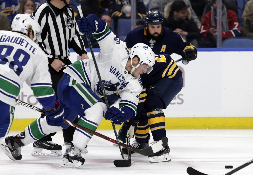 Vancouver Canucks forward Bo Harvat (53) fights for possession of the puck during the second period of an NHL hockey game against the Buffalo Sabres,
