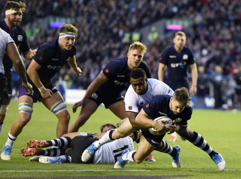 Tommy Seymour of Scotland scores his second try, during the International Rugby match between Scotland and Fiji, at the BT Murrayfield Stadium, in Edi