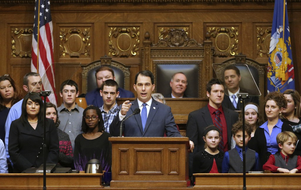 FILE - In this Jan 24, 2018 file photo, Wisconsin Gov. Scott Walker speaks during the State of the State Address in the Assembly Chamber of the State