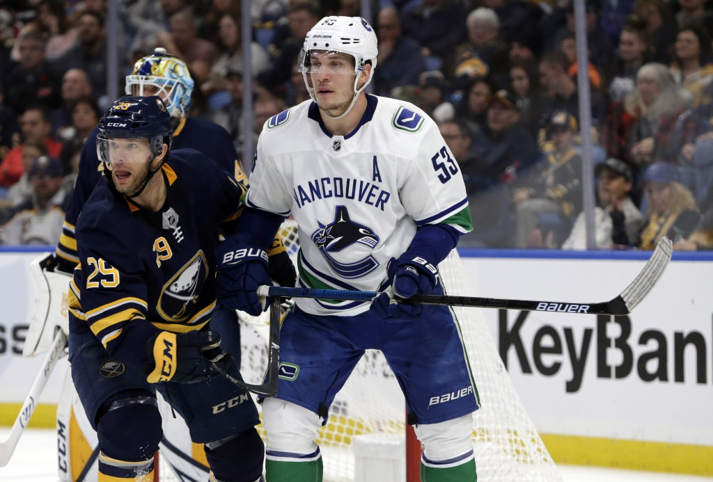 Buffalo Sabres forward Jason Pominville (29) and Vancouver Canucks forward Bo Horvat (53) battle for position during the second period of an NHL hocke