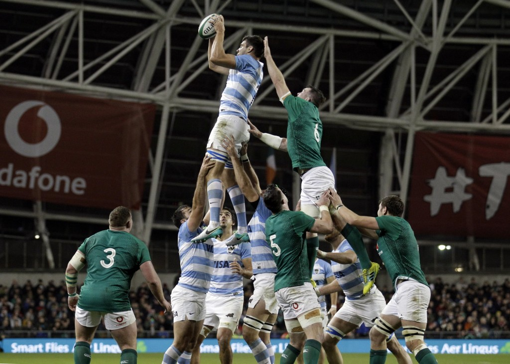 Argentina's Guido Petti claims a lineout during the rugby union international match between Ireland and Argentina, at the Aviva Stadium in Dublin, Ire