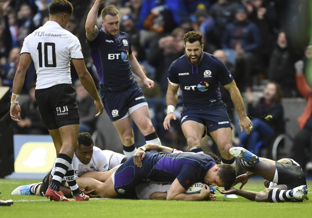 Sean Maitland runs in to score Scotland's fourth try, during the International Rugby match between Scotland and Fiji, at the BT Murrayfield Stadium, i