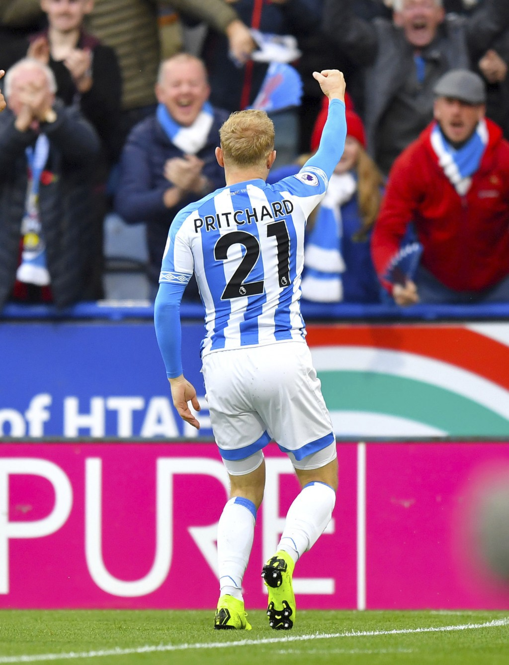 Huddersfield Town's Alex Pritchard celebrates scoring his side's first goal of the game during the English Premier League soccer match between Hudders