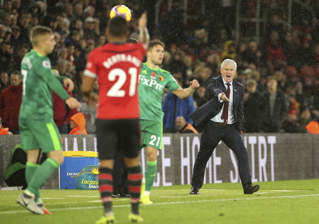 Southampton manager Mark Hughes gestures on the touchline during the English Premier League soccer match between Southampton and Watford at Saint Mary