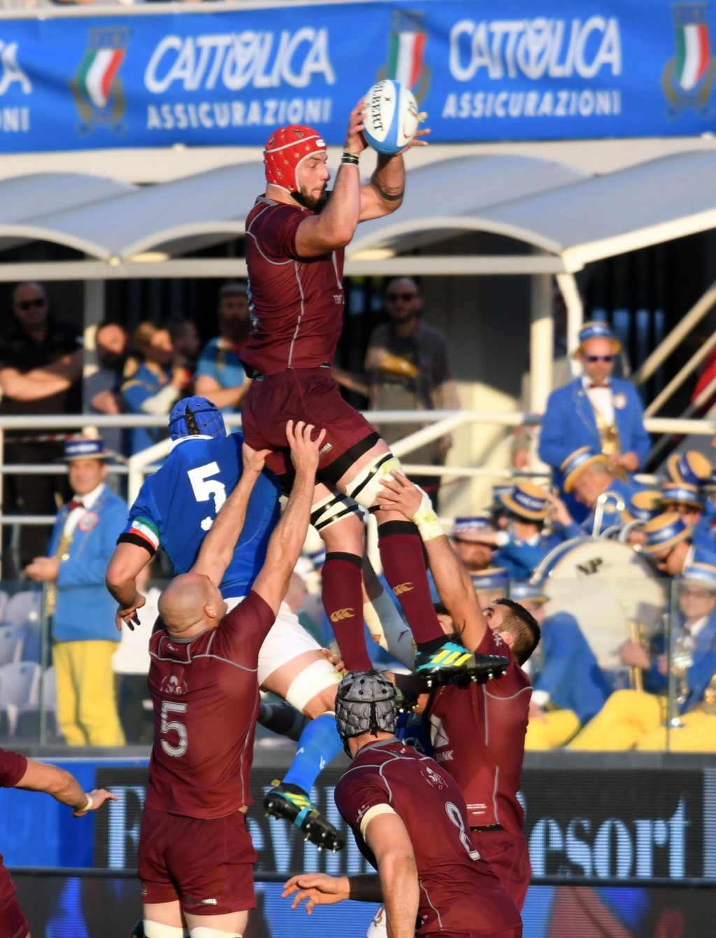 Georgia's Nodar Cheishvili wins a lineout during the international rugby match between Italy and Georgia, at the Artemio Franchi stadium in Florence,