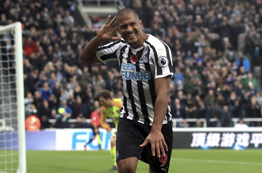 Newcastle United's Salomon Rondon celebrates scoring his side's second goal of the game during the English Premier League soccer match between Newcast