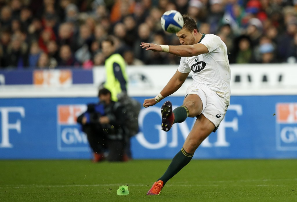 South Africa's Handre Pollard kicks a penalty goal against France during their rugby union international at the Stade de France in Paris, France, Satu