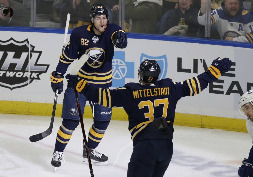 Buffalo Sabres defenseman Nathan Beaulieu (82) and forward Casey Mittelstadt (37) celebrate a goal during the first period of an NHL hockey game again