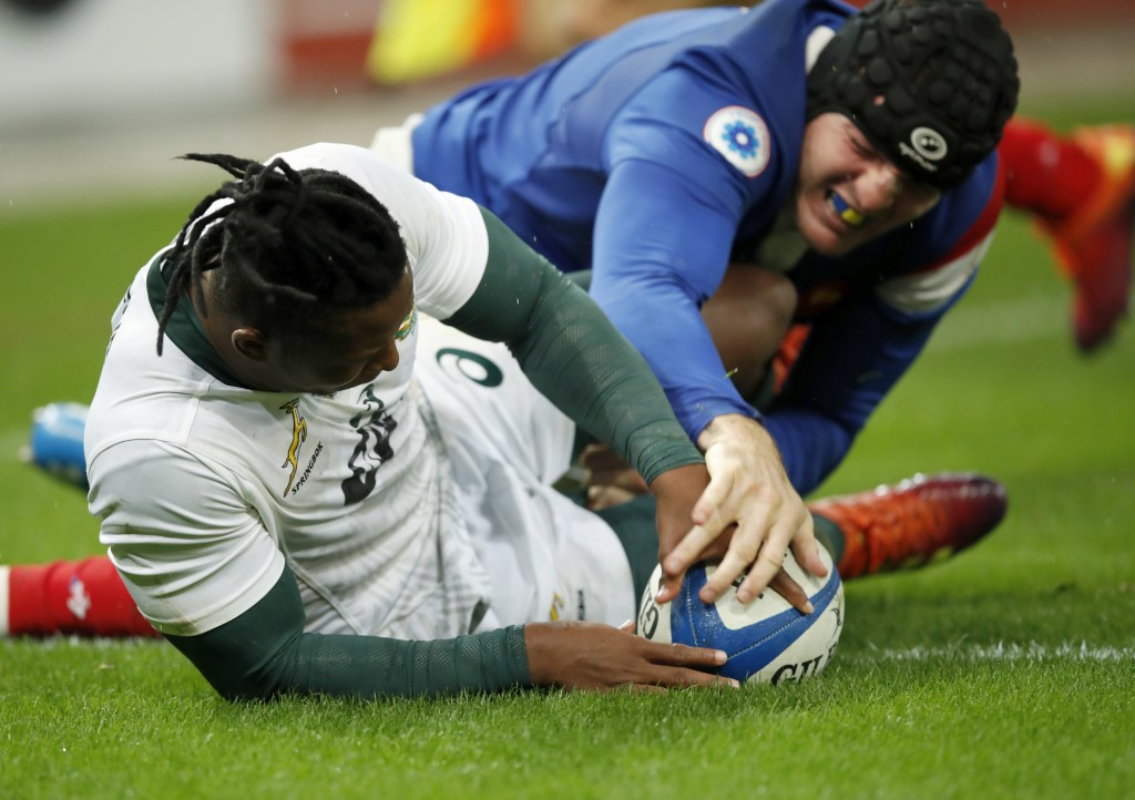 South Africa's Sbu Nkosi scores a try against France during their rugby union international at the Stade de France in Paris, France, Saturday, Nov. 10