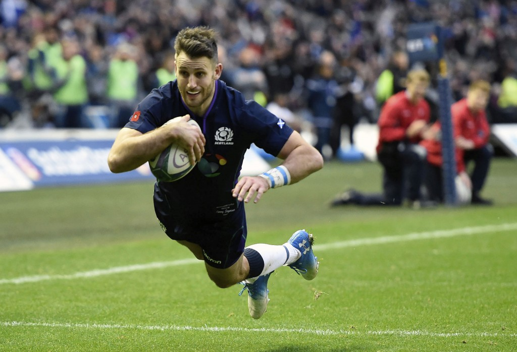 Tommy Seymour scores Scotland's third try during the International Rugby match between Scotland and Fiji, at the BT Murrayfield Stadium, in Edinburgh,