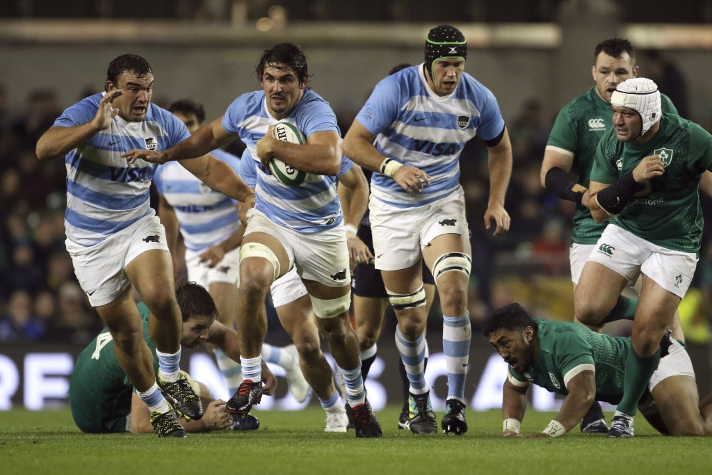 Argentina's Pablo Matera runs with the ball during the rugby union international match between Ireland and Argentina, at the Aviva Stadium in Dublin,