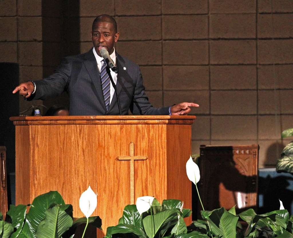 Mayor Andrew Gillum addresses supporters and urges...