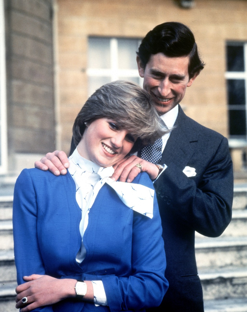 FILE - In this Feb. 24, 1981 file photo Britain's Prince Charles and Lady Diana Spencer pose following the announcement of their engagement.  Princess