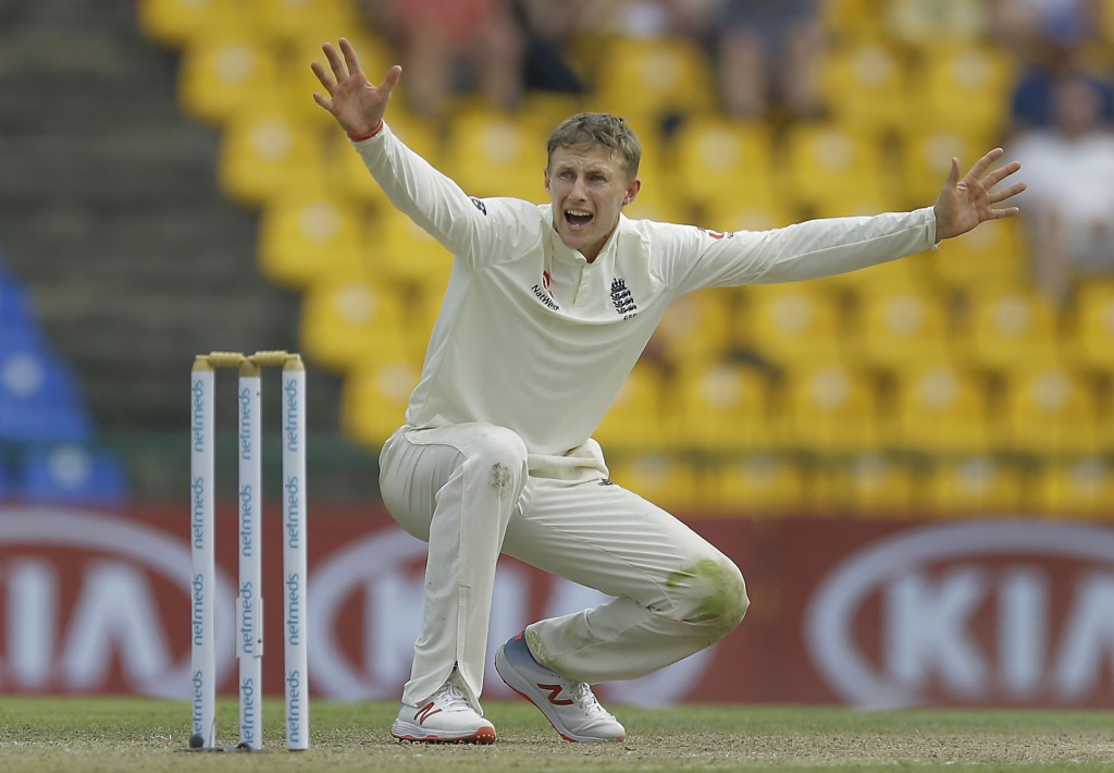 England's captain Joe Root unsuccessfully appeals for the wicket of Sri Lanka's Dilruwan Perera during the second day of the second test cricket match...