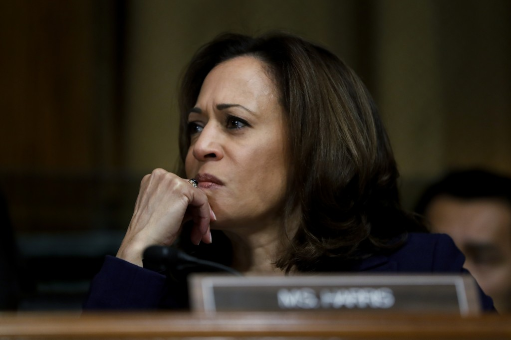FILE - In this Sept. 28, 2018, file photo, Sen. Kamala Harris, D-Calif. attends a Senate Judiciary Committee meeting on Capitol Hill in Washington. Th