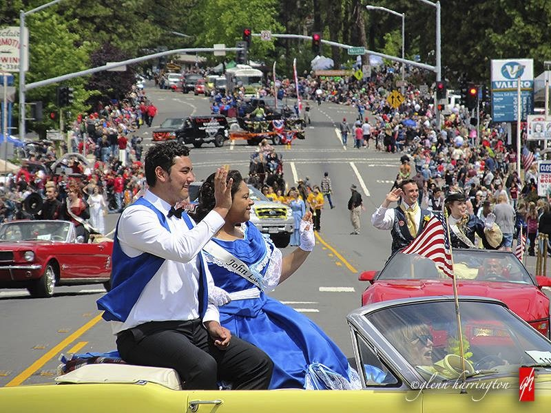 This 2015 photo provided by Glenn Harrington shows the Gold Nugget Days parade moving along the street in Paradise, Calif. In the spring the town cele...