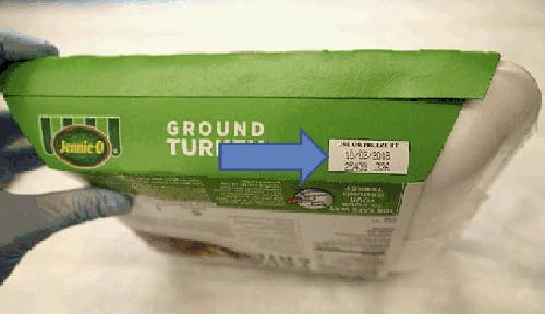 This image provided by Hormel Foods Corporation shows the production code information on the side of the sleeve of Jennie-O-Turkey that is being recal...