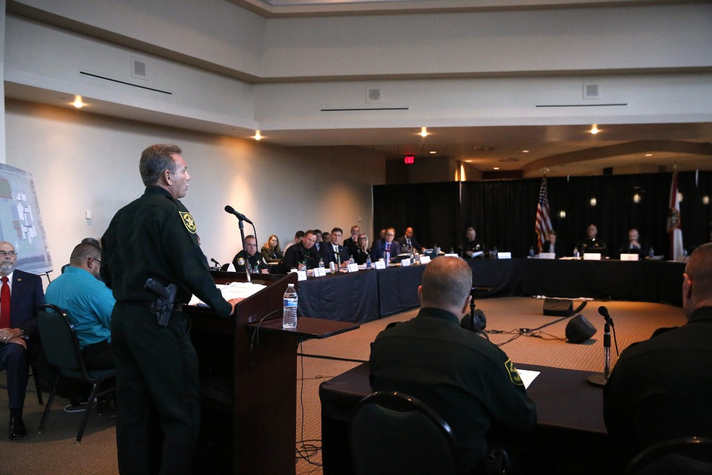 Broward Sheriff Scott Israel speaks before the the Marjory Stoneman Douglas High School Public Safety Commission on Thursday, Nov. 15, 2018, in Sunris