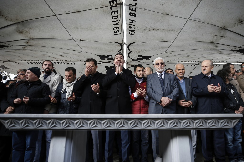 The members of Arab-Turkish Media Association and friends attend funeral prayers in absentia for Saudi writer Jamal Khashoggi who was killed last mont...