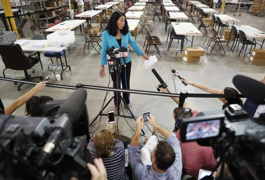 Palm Beach County Supervisor Of Elections Susan Bucher speaks to members of the media at the Supervisor of Elections office after the deadline for a r...