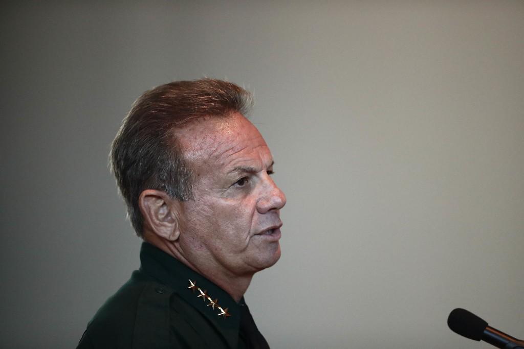 Broward Sheriff Scott Israel speaks before the state commission on Thursday, Nov. 15, 2018, in Sunrise, Fla. (AP Photo/Brynn Anderson)