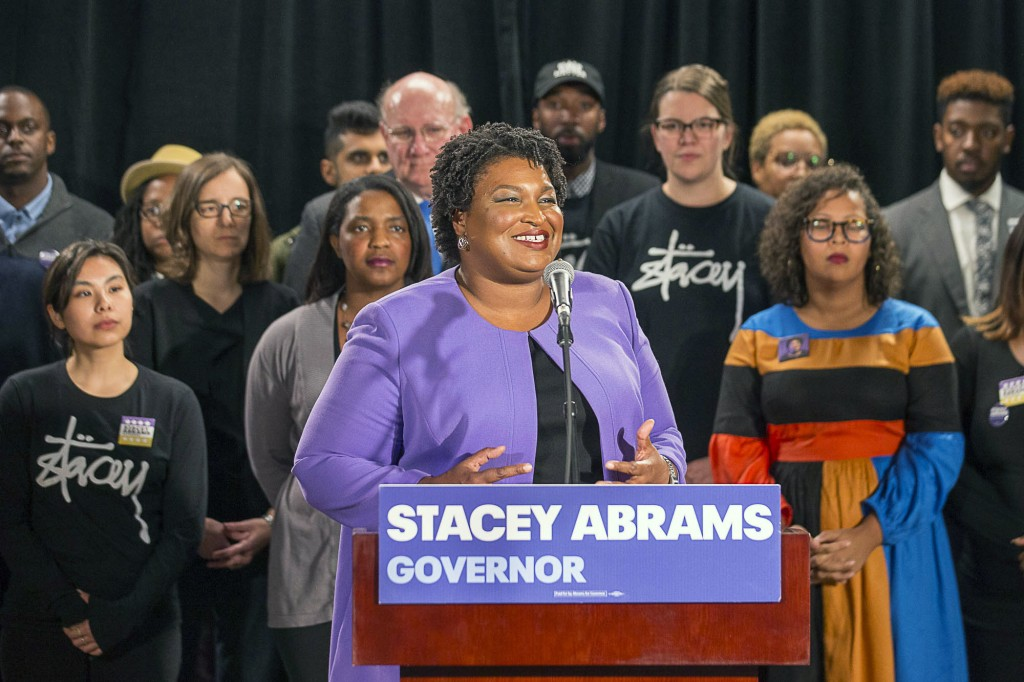 Georgia gubernatorial candidate Stacey Abrams makes remarks during a press conference at the Abrams Headquarters in Atlanta, Friday, Nov. 16, 2018. De