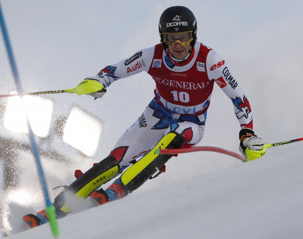 France's Clement Noel competes during the first run of an alpine ski, men's World Cup slalom, in Levi, Finland, Sunday, Nov. 18, 2018. (AP Photo/Gabri