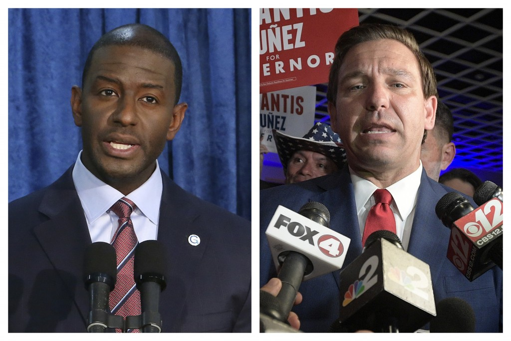 This combination of November 2018 photo shows Andrew Gillum, left, the Democratic candidate for governor, and  Republican candidate Ron DeSantis. On S...