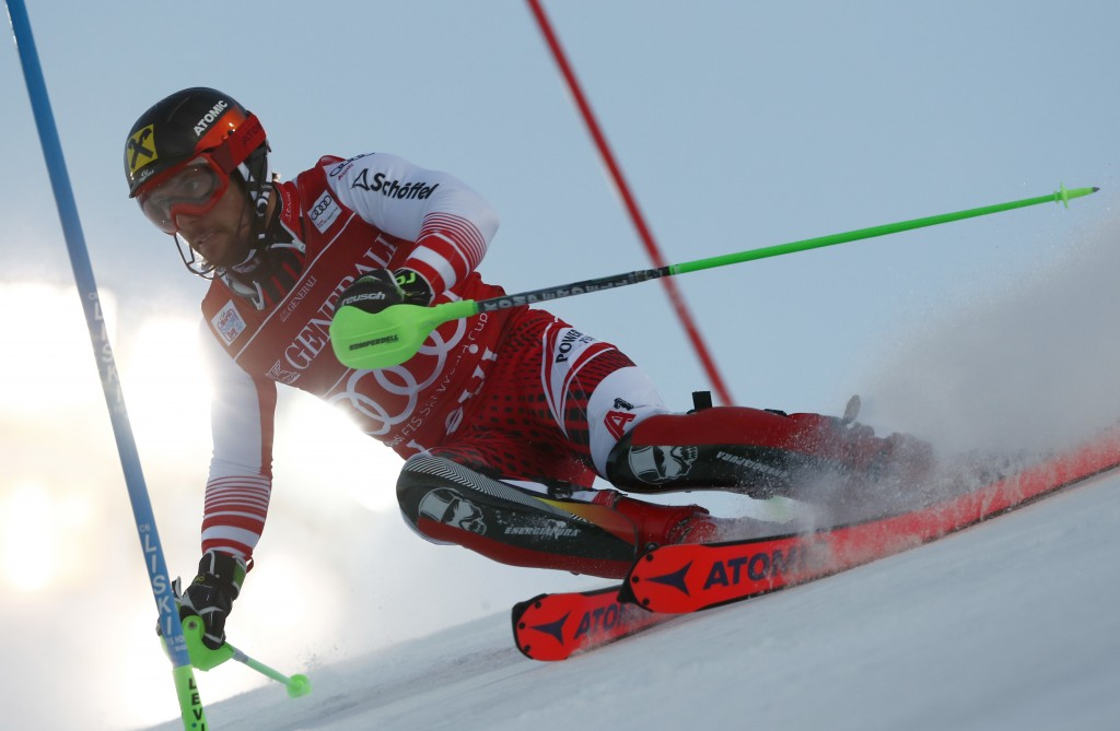 Austria's Marcel Hirscher competes during the first run of an alpine ski, men's World Cup slalom, in Levi, Finland, Sunday, Nov. 18, 2018. (AP Photo/G