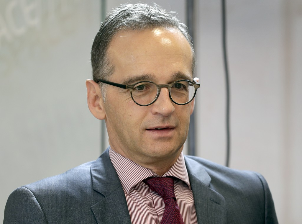 FILE -- In this Thursday, Nov. 15, 2018 photo German Foreign Minister Heiko Maas attends a cabinet meeting as part of a two-day retreat of the German