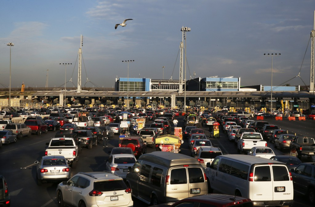Drivers use a legal border crossing to leave Tijuana, Mexico and enter the U.S., Sunday, Nov. 18, 2018. While many in Tijuana are sympathetic to the p...
