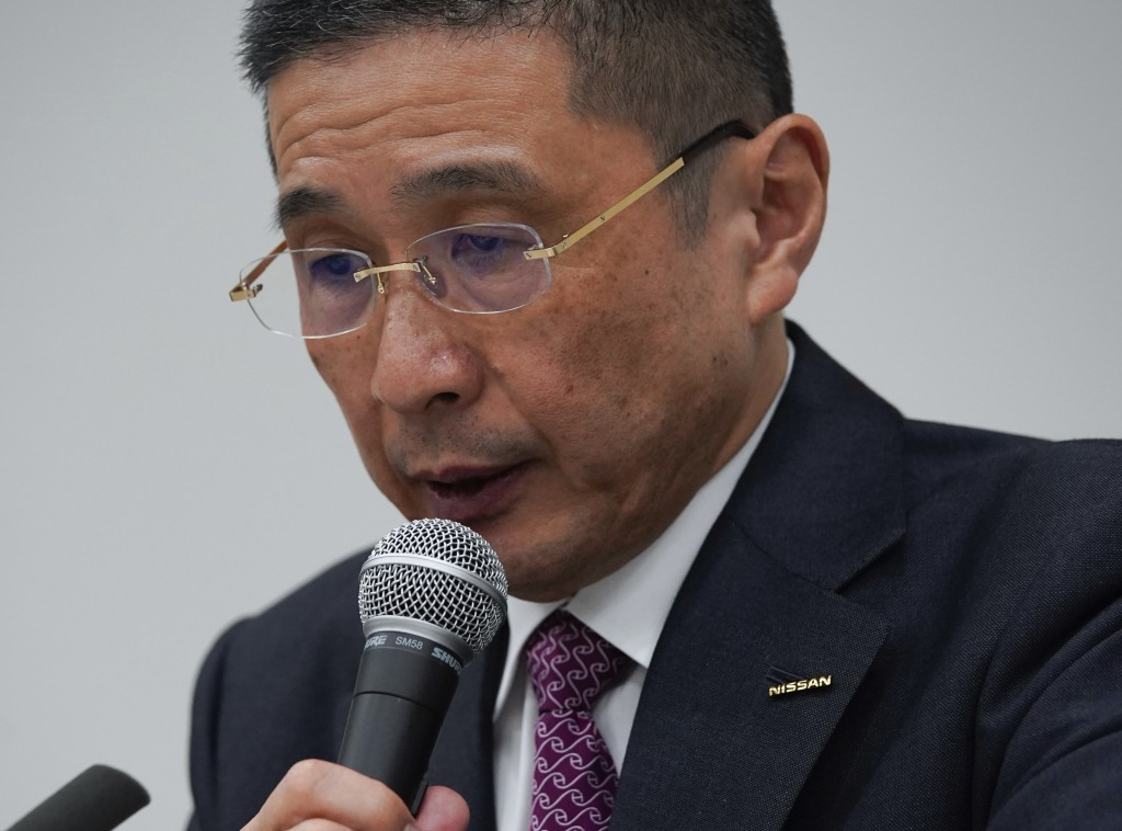 Nissan Motor Co. President and Chief Executive Officer Hiroto Saikawa speaks during a press conference at Nissan Motor Co. Global Headquarter Monday N...