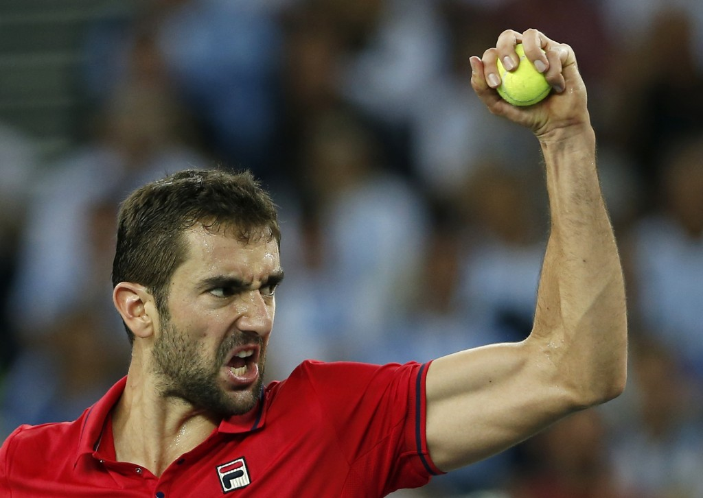 FILE - In this Sunday, Nov. 27, 2016 file photo, Croatia's Marin Cilic celebrates winning a point against Argentina's Juan Martin Del Potro during the...