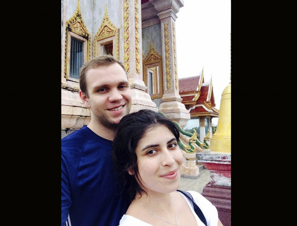 This undated family handout photo shows Matthew Hedges with his wife Daniela Tejada. The family of a British academic jailed in the United Arab Emirat...