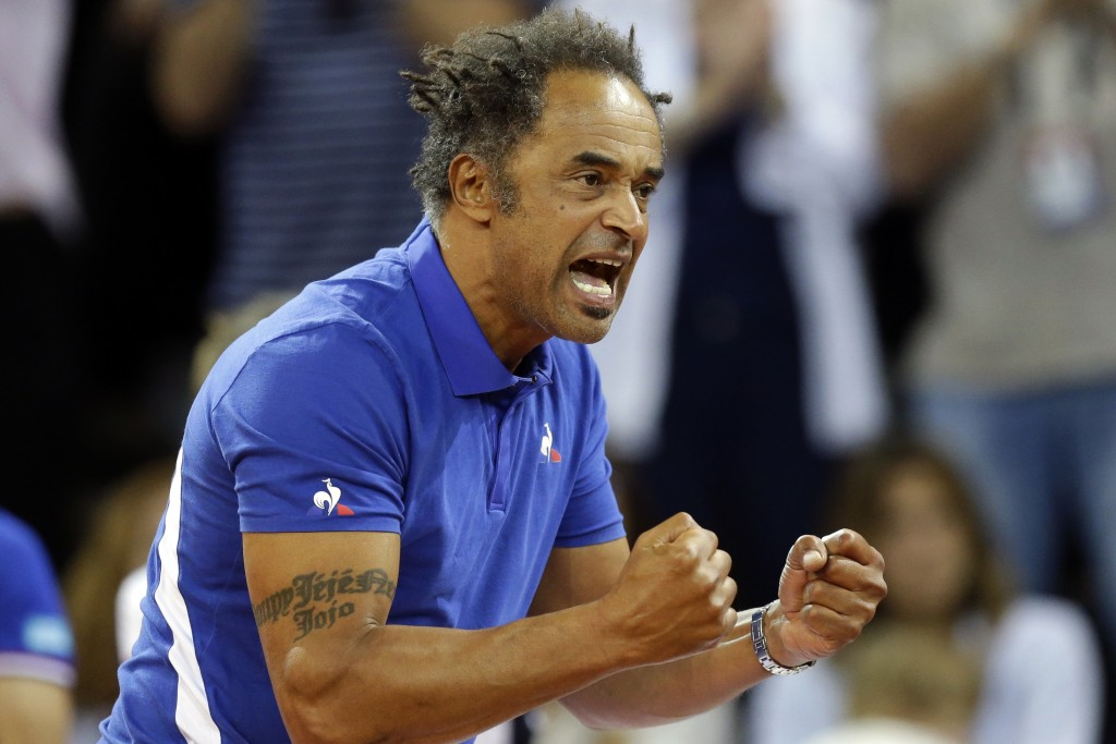 FILE - In this April 22, 2018 file photo, France's team captain Yannick Noah reacts during the Fed Cup semifinal singles tennis match between France's...