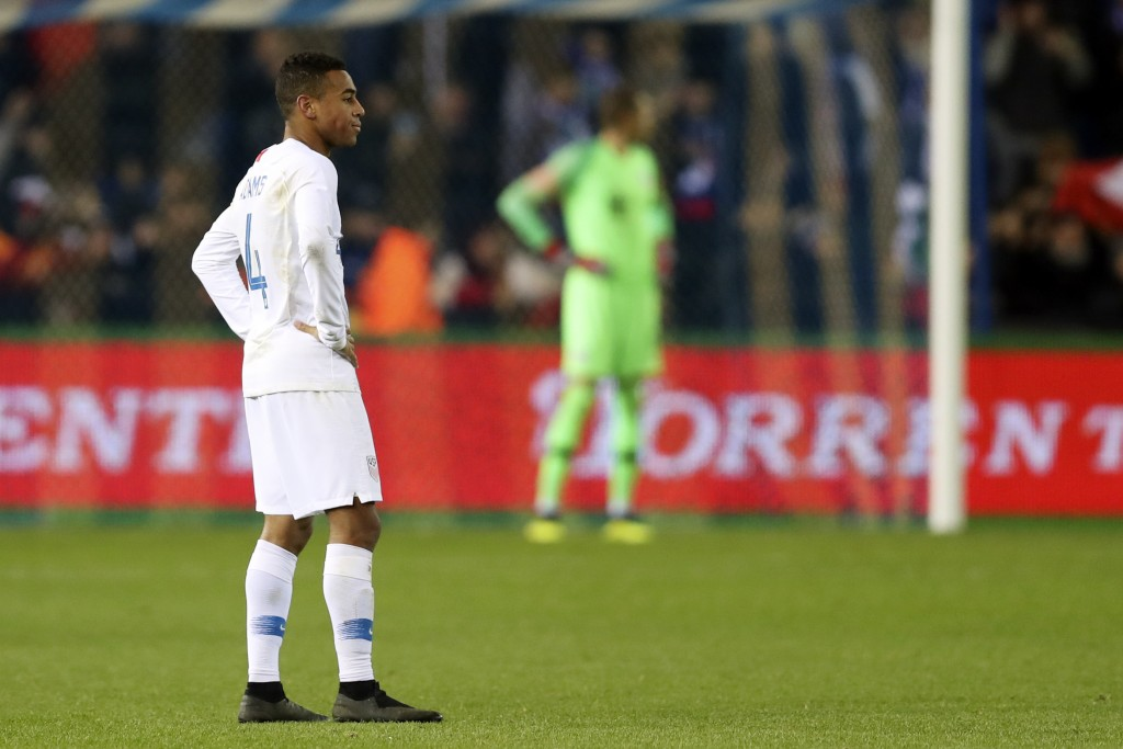 United States' Tyler Adams walks on the pitch at the end of the international friendly soccer match between Italy and the United States, at the Crista...