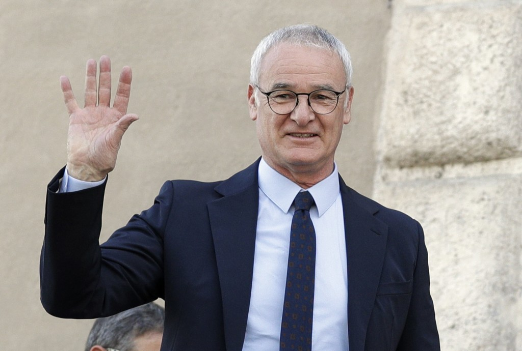 FILE - In this Thursday, March 30, 2017 file photo, soccer coach Claudio Ranieri waves from a balcony of Rome's Capitol Hill,  after receiving an hono
