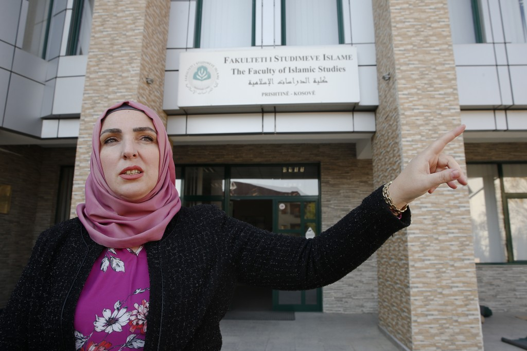 Besa Ismaili, an English teacher at the Faculty of Islamic Studies in Kosovo during an interview with The Associated Press in Kosovo capital Pristina