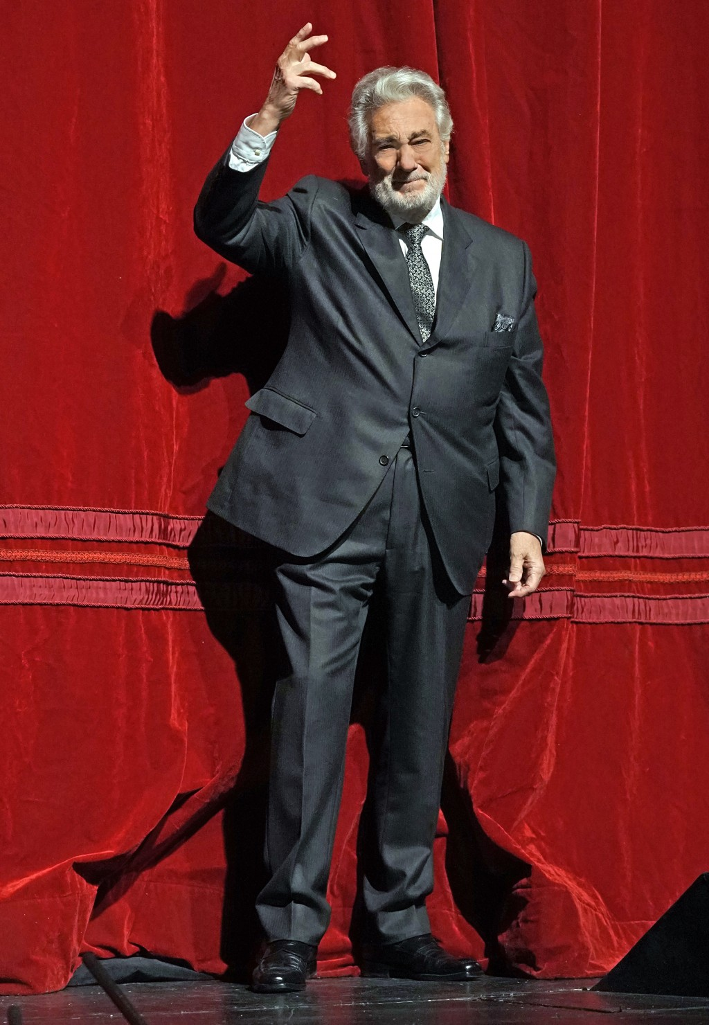 In this photo provided by the Metropolitan Opera, Placido Domingo stands on stage at the Metropolitan Opera, Friday, Nov. 23, 2018, in New York. Domin