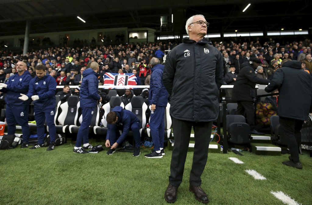 Fulham manager Claudio Ranieri looks on prior to kick-off of the English Premier League soccer match against Southampton at Craven Cottage, London, Sa