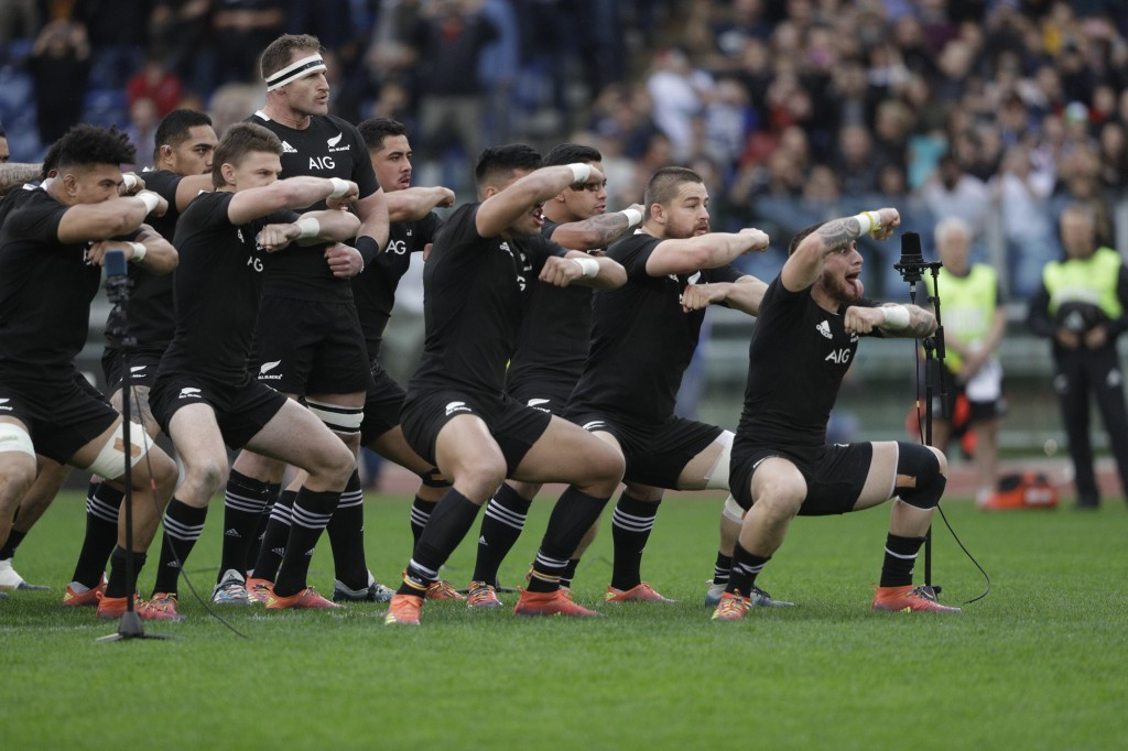 New Zealand's players perform the Haka prior to the start of the rugby union international match between Italy and New Zealand at the Olympic Stadium