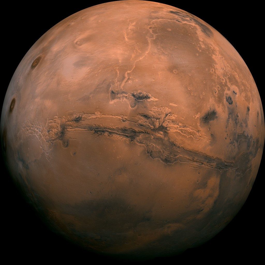 FILE - This image made available by NASA shows the planet Mars. This composite photo was created from over 100 images of Mars taken by Viking Orbiters
