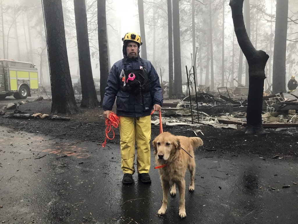 Eric Darling and his dog Wyatt are part of a search team from Orange County in Southern California who are among several teams conducting a second sea...